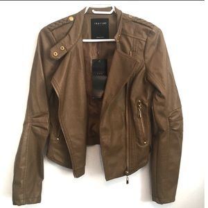 NWT Therapy faux leather tan jacket
